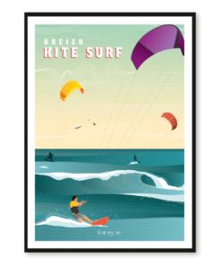 Affiche Breizh - Kitesurf
